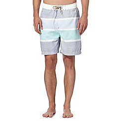 Mantaray - Big and tall white block feeder stripe swim shorts