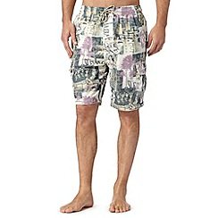 Mantaray - Big and tall natural hawaiian cargo shorts