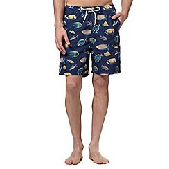 Mantaray - Big and tall navy tropical fish swim shorts