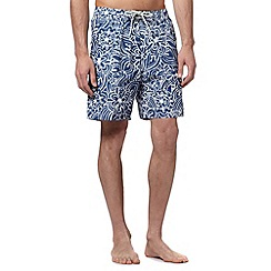 Mantaray - Big and tall blue floral swirl swim shorts