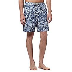 Mantaray - Big and tall blue floral swirl swim shorts