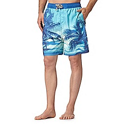 Mantaray - Blue photographic palm trees swim shorts