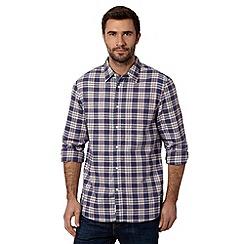 Mantaray - Dark blue classic mid checked shirt