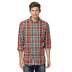 Mantaray - Orange twill checked shirt