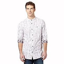 Mantaray - Big and tall wine floral chest pocket grandad shirt