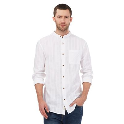 Mantaray White textured pocket grandad shirt