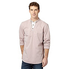 Mantaray - Big and tall pink textured striped mock insert shirt