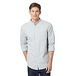 Mantaray - Big and tall blue semi plain textured grandad shirt