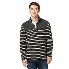 Mantaray - Grey pique striped zip neck sweater