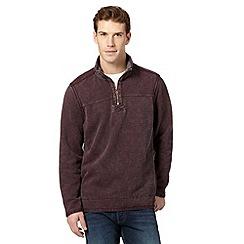 Mantaray - Purple pique zip neck sweater