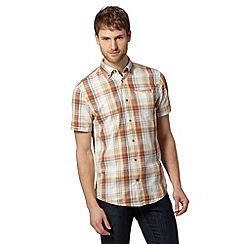 Mantaray - Big and tall orange textured check shirt