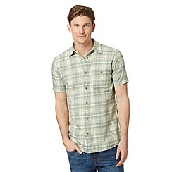 Mantaray - Green jacquard checked short sleeved shirt