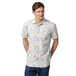 Mantaray - Big and tall natural short sleeved tropical print shirt