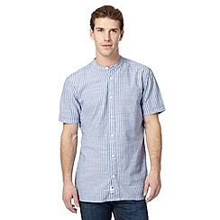 Mantaray - Blue short sleeved striped grandad shirt