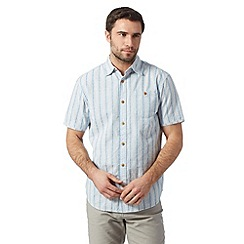 Mantaray - Big and tall blue short sleeved jacquard striped shirt