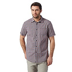 Mantaray - Navy gingham checked short sleeved shirt