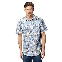 Mantaray - Big and tall blue hawaiian print shirt