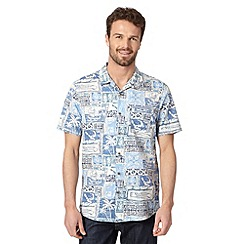 Mantaray - Big and tall blue block hawaiian shirt
