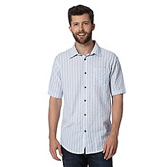 Mantaray - Big and tall blue seersucker striped shirt