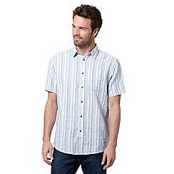 Mantaray - Big and tall blue striped linen blend shirt