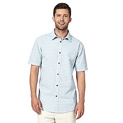 Mantaray - Big and tall turquoise textured checked short sleeved shirt