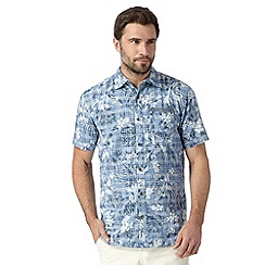 Mantaray - Big and tall blue short sleeved floral shirt
