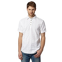 Mantaray - Big and tall white textured stripe kaftan shirt