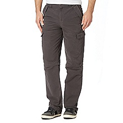 Mantaray - Big and tall dark grey cargo zip off trousers