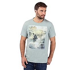 Mantaray - Light green canoe print t-shirt