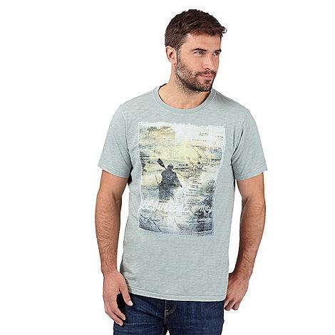 Mantaray big and tall light green canoe print t shirt for Big and tall printed t shirts