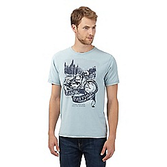 Mantaray - Big and tall light blue motorbike mountain t-shirt