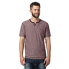 Mantaray - Big and tall wine textured open button neck t-shirt