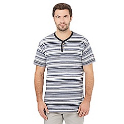 Mantaray - Blue striped grandad t-shirt