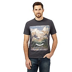 Mantaray - Dark grey landscape print t-shirt