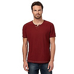 Mantaray - Big and tall dark red open button neck t-shirt