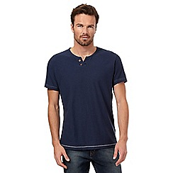 Mantaray - Navy open button neck t-shirt