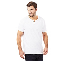 Mantaray - Big and tall white open button neck t-shirt