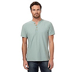 Mantaray - Big and tall light green textured y neck t-shirt