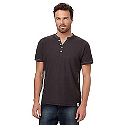 Mantaray - Big and tall brown textured y neck t-shirt