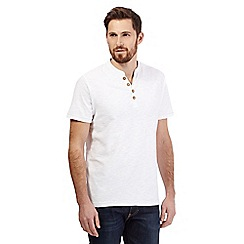 Mantaray - Big and tall white textured y neck t-shirt