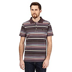 Mantaray - Big and tall dark pink striped pique polo shirt