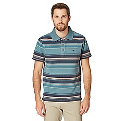 Mantaray - Big and tall turquoise striped pique polo shirt