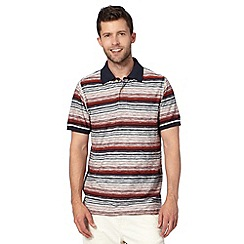 Mantaray - Big and tall dark orange fine stripe polo shirt