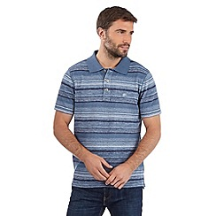 Mantaray - Big and tall blue washed stripe pique polo shirt