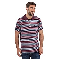 Mantaray - Big and tall wine variegated stripe pique polo shirt