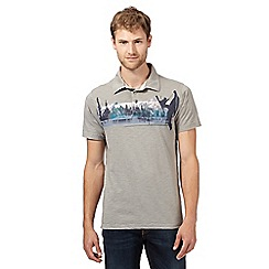 Mantaray - Big and tall grey rock climber print polo shirt
