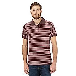 Mantaray - Big and tall dark red striped polo shirt