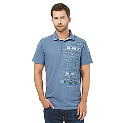 Mantaray - Blue snowboard print polo top