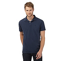 Mantaray - Navy textured waffle collar polo shirt
