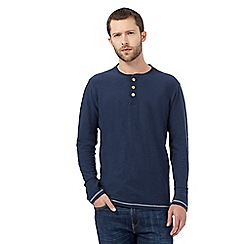 Mantaray - Big and tall navy textured grandad top